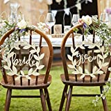 Ginger Ray Lot de 2 panneaux en bois naturel pour chaise de mariée et marié Beige