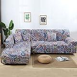 JIAN YA NA Canapé Extensible Covers Polyester Spandex Housse Polyester Tissu Stretch Slipcovers + 2pcs Oreiller Couvre pour Canapé en L Canapé Coloré (Indian Style)
