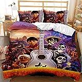 GD-SJK Parure de lit pour enfant 100 % polyester Motif dessin animé Disney Lavable en machine avec fermeture éclair dissimulée (Coco 05, lit simple : 135 x 200 cm)