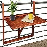 Deuba - Table de Balcon Suspendue en Bois d'acacia certifié FSC – Table de Balcon Rabattable • 64x45x87cm - Acacia • Pliable • Compacte • Elégante - Balcon, terrasse, intérieur, extérieur