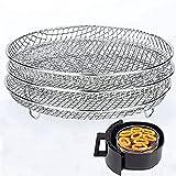Kamenda Support Déshydrateur Trois Couches Empilables en Acier Inoxydable - Accessoires pour Grille de Barbecue Compatible avec Fryer Air Ninja Foodi - 17,8 x 19,5 cm