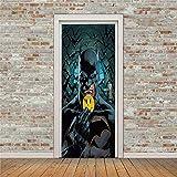 Stickers de Porte 95X215Cm ,Affiche Autocollant de Porte 3D Autocollant de Décoration Pvc Amovible Autocollant Chambre Décoration - Batman Noir