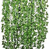 Lierre Artificielle Plantes Guirlande Vigne - YQing 12 Pcs 84 Ft Exterieur Lierre Artificielle Guirlande Décoration pour Célébration, Mariage, Cuisine, Jardin, Bureau