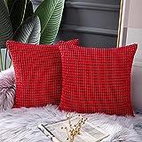HEXIN Taie d'oreiller en Grains de maïs, taie d'oreiller Souple en Velours côtelé, Maison Salon Chambre décoration canapé Housse de Coussin (2pcs Rouge, 50x50cm)