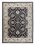 Tapis oriental–Traditionnel, motif persan, pour le salon, la chambre à coucher–Moquette dense de grande qualité–Kashan et motif floral 'Emirat', Anthracite Black, 60 x 100 cm ( 2ft x 3ft4' )