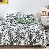 Nitwy Böhmen Parure de lit réversible en microfibre avec 1 housse de couette et 2 taies d'oreiller de 80 x 80 cm avec fermeture Éclair Motif floral Vert/blanc